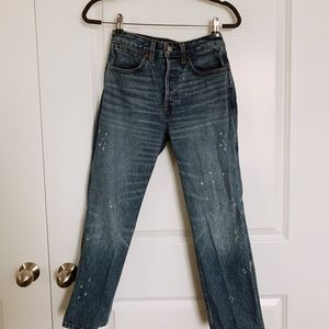 Abercrombie Paint Splattered High-Waisted Jeans